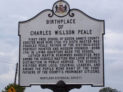 Birthplace of Charles Willson Peale Marker image. Click for full size.