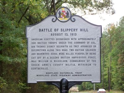 Battle of Slippery Hill August 13, 1813 Marker image. Click for full size.