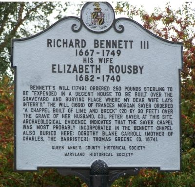 Richard Bennett III & Elizabeth Rousby Face of Marker image. Click for full size.