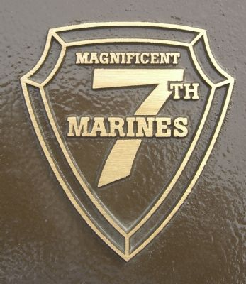Close up of 7th Marine Regiment Logo on each marker. image. Click for full size.
