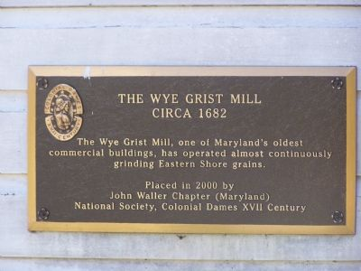 Marker on Grist Mill wall image. Click for full size.