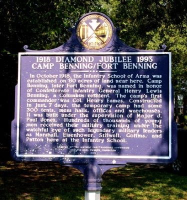 1918 Diamond Jubilee 1993 Camp Benning / Fort Benning Marker, Side 1 image. Click for full size.