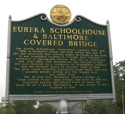 Eureka Schoolhouse & Baltimore Covered Bridge Marker image. Click for full size.
