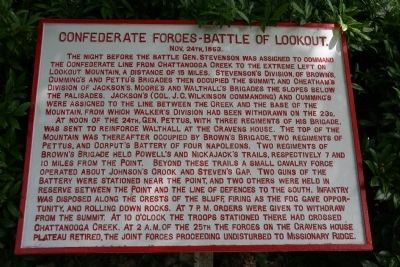 Confederate Forces – Battle of Lookout. Marker image. Click for full size.