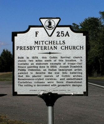 Mitchells Presbyterian Church Marker image. Click for full size.
