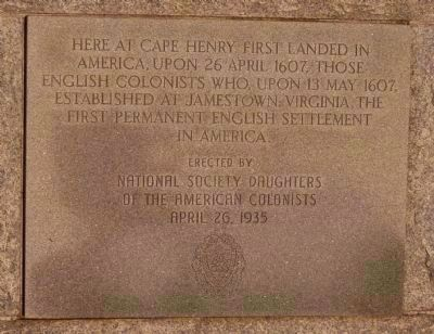 Cape Henry Memorial Marker - On the Base of the Memorial Cross, Erected in 1935 image. Click for full size.