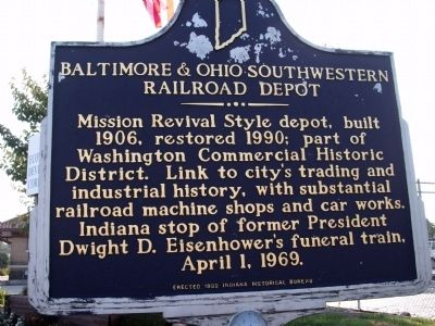 Looking South - - Baltimore & Ohio Southwestern Railroad Depot Marker image. Click for full size.