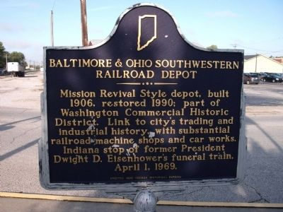 Looking North - - Baltimore & Ohio Southwestern Railroad Depot Marker image. Click for full size.