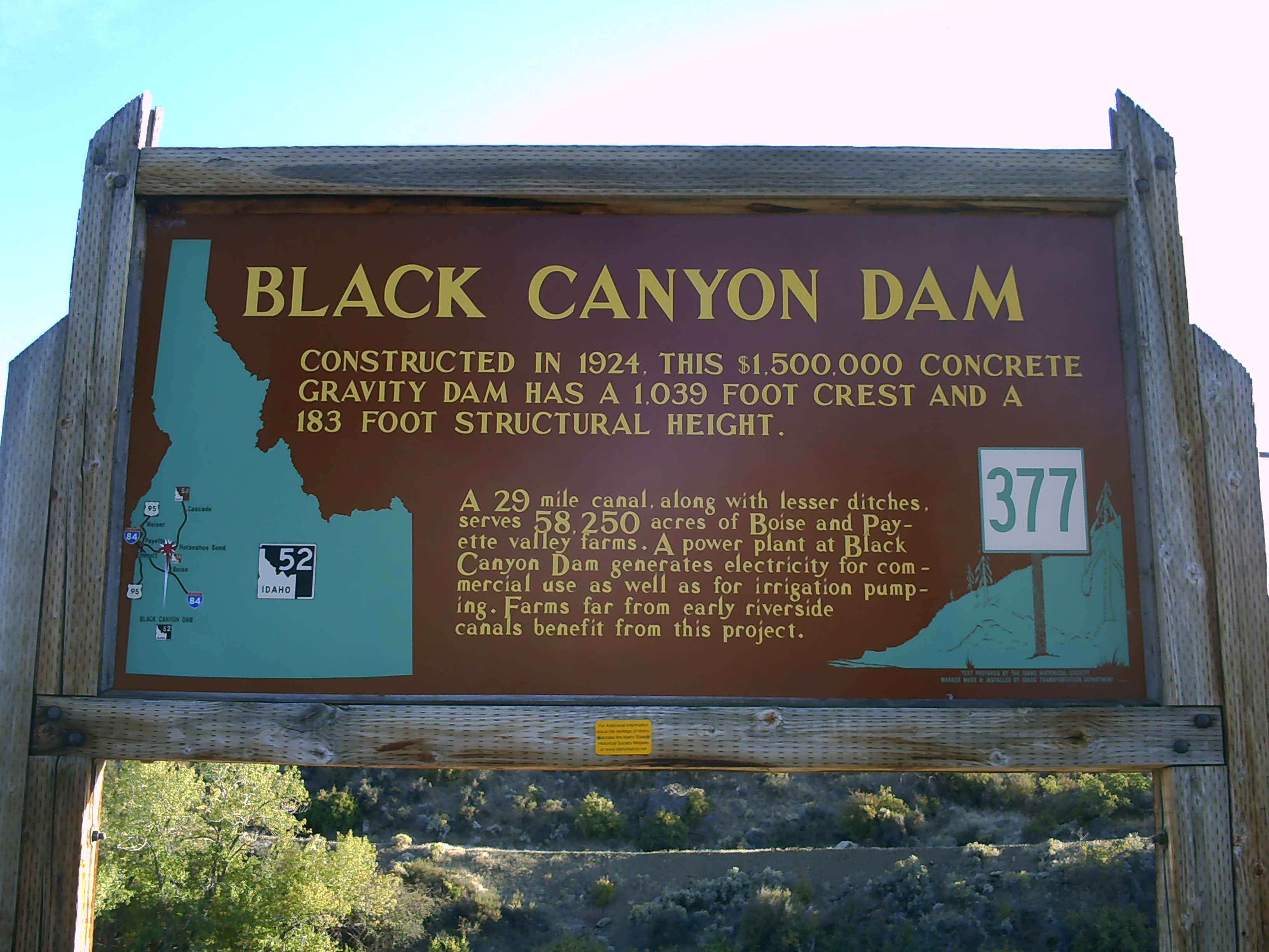 Black Canyon Dam Marker