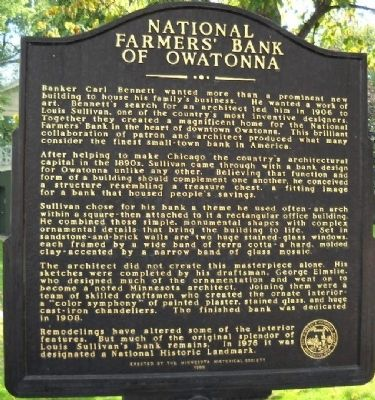 National Farmer's Bank of Owatonna Marker image. Click for full size.
