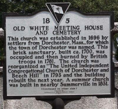 Old White Meeting House and Cemetery Marker image. Click for full size.