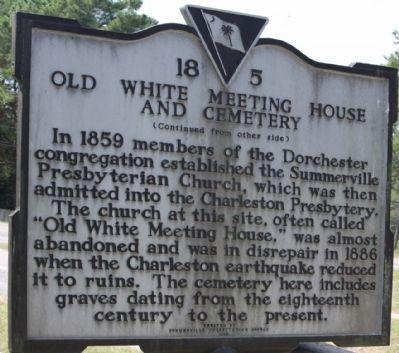Old White Meeting House and Cemetery Marker, reverse side image. Click for full size.