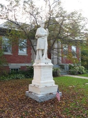 Statue in front of the Pettee Memorial Library. image. Click for full size.