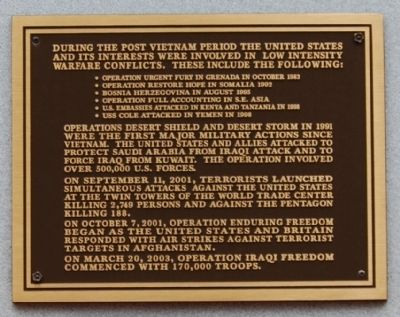 Post Vietnam Military Operations Marker - Top Plaque image. Click for full size.