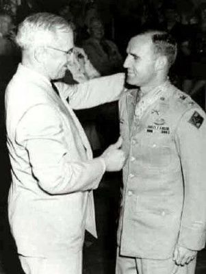 President Harry S. Truman<br>Awarding the Medal of Honor<br>to Maj. Gen. George L. Mabry image. Click for full size.