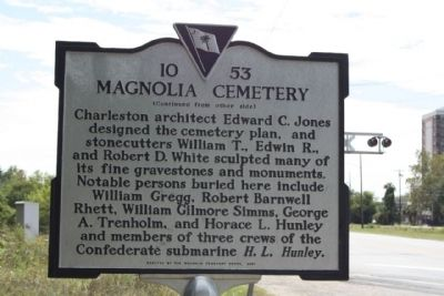 Magnolia Cemetery Marker, reverse side text image. Click for full size.