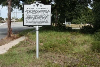 Magnolia Cemetery Marker along US 52, near Cunnington Avenue image. Click for full size.