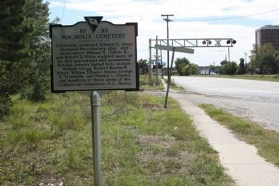 Magnolia Cemetery Marker, as seen looking south along US 52, Meeting Street image. Click for full size.