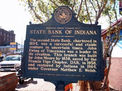 State Bank of Indiana Marker image. Click for full size.
