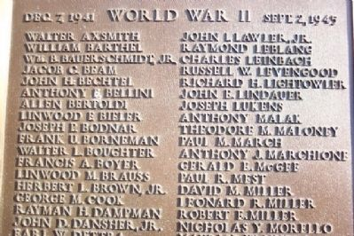 Pottstown War Memorial WWII Roll of Honor image. Click for full size.