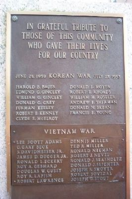 Pottstown War Memorial Korea / Vietnam Roll of Honor image. Click for full size.