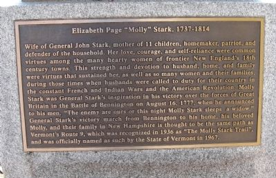 "Elizabeth Page ""Molly"" Stark, 1737 – 1814 Marker image. Click for full size."