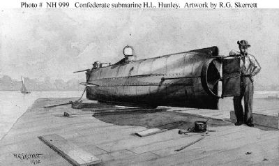 Photo # NH 999 Confederate submarine H.L. Hunley. Artwork by R.G. Skerrett image. Click for full size.