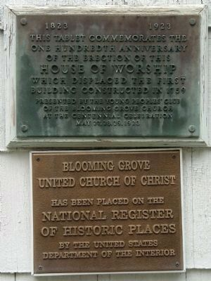 Blooming Grove Church tablets on front of structure. image. Click for full size.