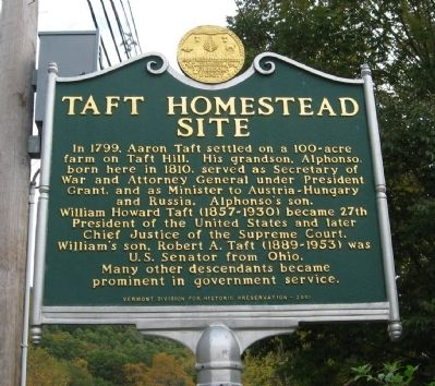 Taft Homestead Site Marker image. Click for full size.