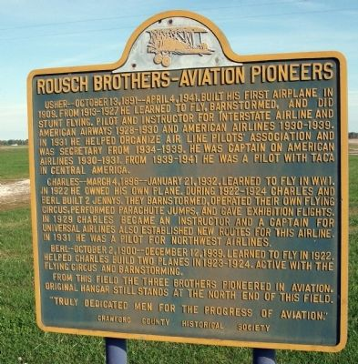 Rousch Brothers - - Aviation Pioneers Marker image. Click for full size.