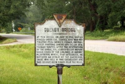 Quenby Bridge Marker as seen looking north along Cainhoy Road image. Click for full size.