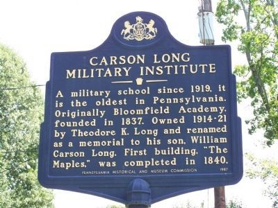 Carson Long Military Institute Marker image. Click for full size.