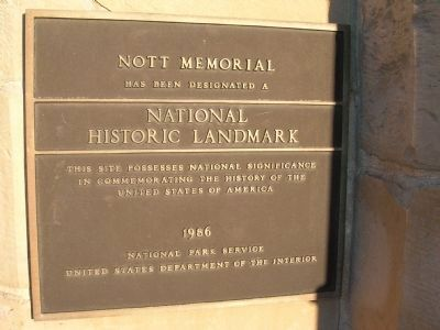 <center>Nott Memorial National Historic Landmark Marker</center> image. Click for full size.