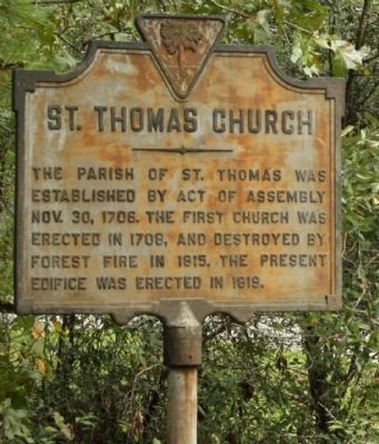 St. Thomas Church Marker image. Click for full size.