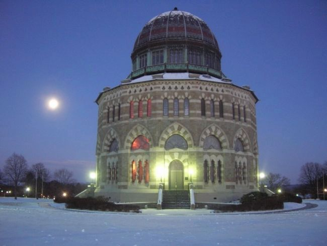 Nott Memorial At Dawn with Moon image. Click for full size.