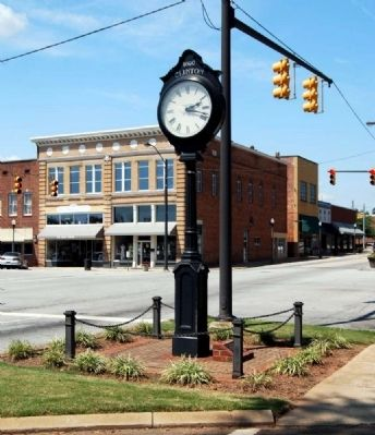Clinton Town Clock<br>Marker at Base Reads image. Click for full size.