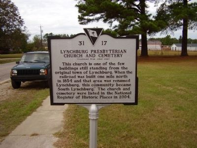 Lynchburg Presbyterian Church and Cemetery Marker image. Click for full size.