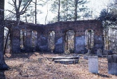 Biggin Church and cemetery ruins image. Click for full size.