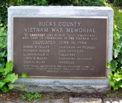 Bucks County Vietnam War Memorial Marker image. Click for full size.