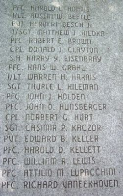 Bucks County Korean War Honor Roll image. Click for full size.
