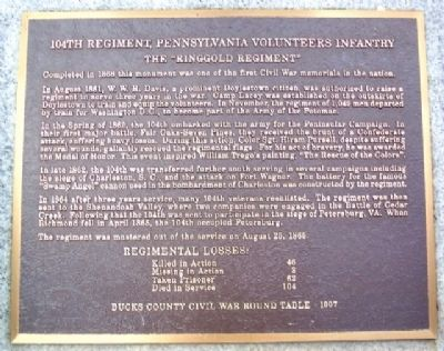 104th Pennsylvania Infantry Regiment Marker image, Touch for more information