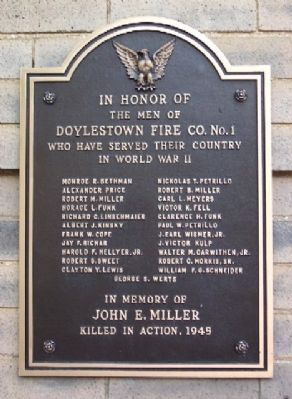 Doylestown Fire Company No. 1 World War II Memorial Marker image. Click for full size.