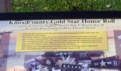 Knox County (Indiana) Gold Star Honor Roll Marker image. Click for full size.