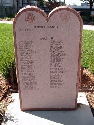 "Stone Memorial - - ""Spanish American War"" -&- ""World War I"" image. Click for full size."