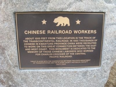 Chinese Railroad Workers Marker image. Click for full size.