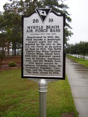 Myrtle Beach Army Air Field - Myrtle Beach Air Force Base Marker image. Click for full size.