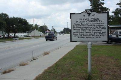 Varner Town Indian Community Marker looking north along US 17A image. Click for full size.