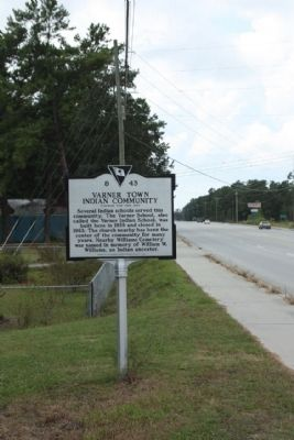 Varner Town Indian Community Marker as seen looking south image. Click for full size.