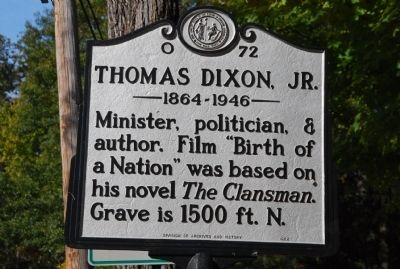 Thomas Dixon Jr. Marker image. Click for full size.