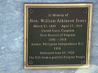 Hon. William Atkinson Jones Marker image. Click for full size.